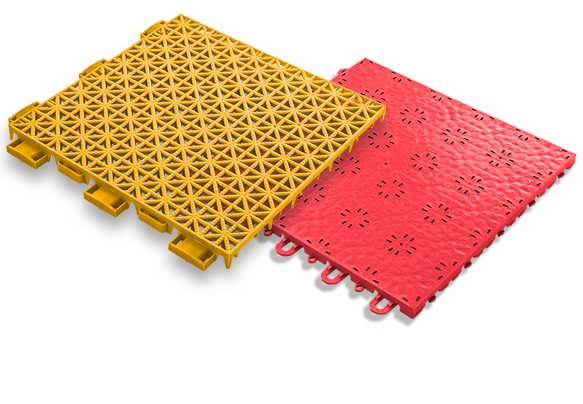 game outdoor tile for use in outdoor multi-sport courts, shown in yellow; compete indoor tile for use in indoor multi-sport courts