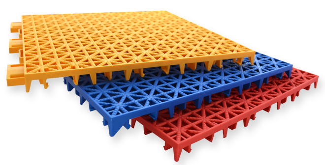 Versacourt Game Outdoor Tile - stack of sample tiles in yellow, blue, red