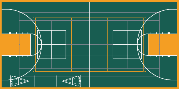 Multi-sport court CAD rendering in Emerald and Yellow