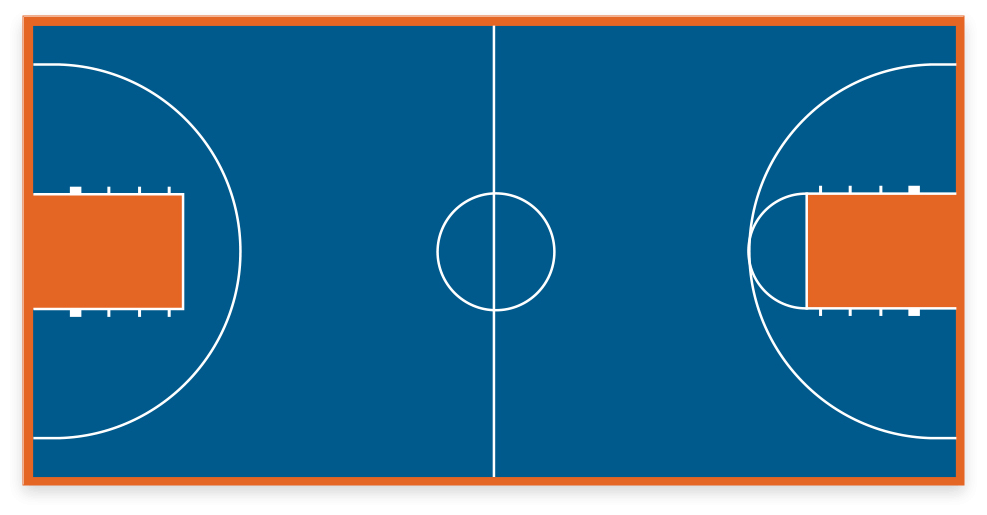 VersaCourt game court with basketball game lines