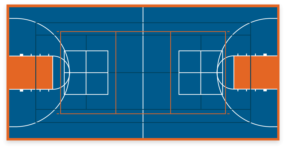 VersaCourt game court with multi-sport game lines
