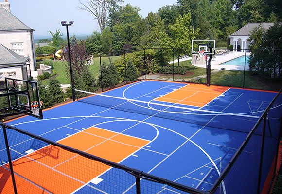 Versacourt court tile for tennis court construction for Average basketball court size