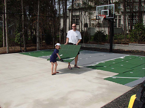 Versacourt residential court installation for Cost to build a backyard basketball court