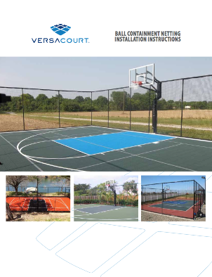 cover of VersaCourt ball containment net installation instructions booklet