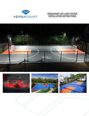 cover of VersaCourt LED light system installation instructions booklet