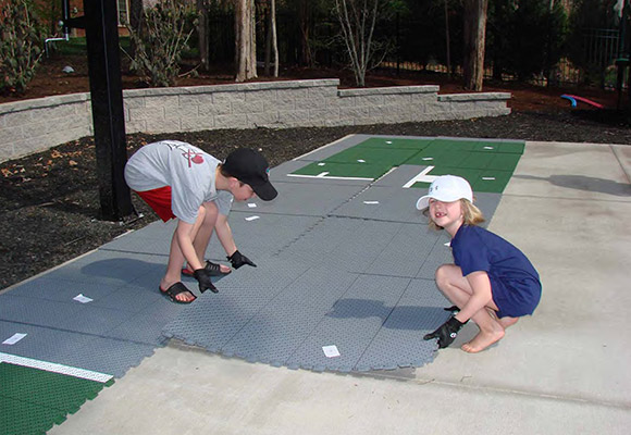 kids helping with home installation process