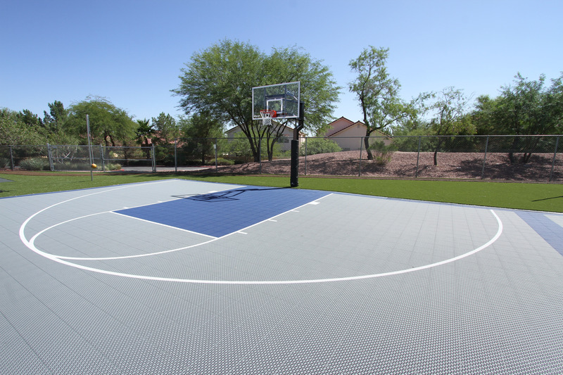 Versacourt indoor outdoor backyard basketball courts all for Average basketball court size