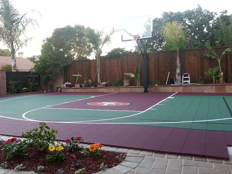 outdoor basketball court template - versacourt home backyard basketball court photos