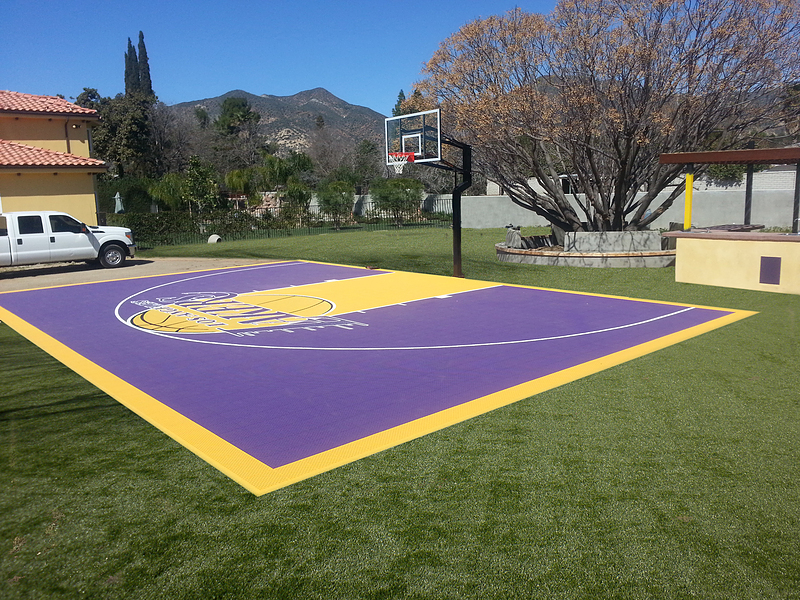 Versacourt home backyard basketball court photos for Home basketball court cost