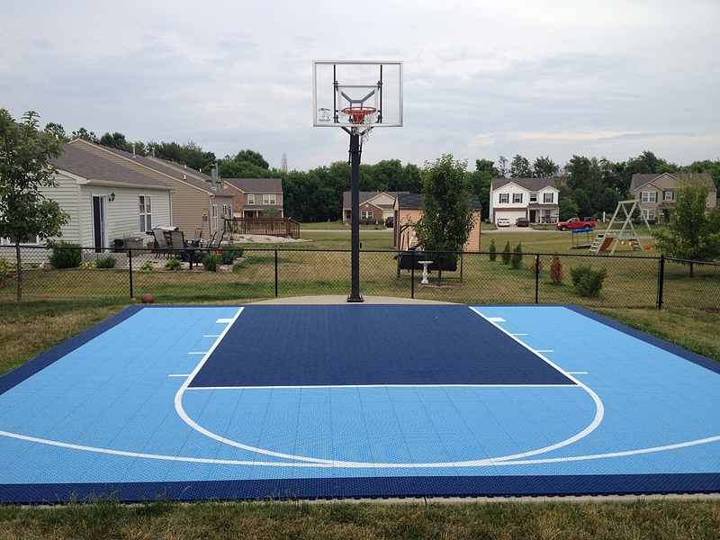 Basketball backyard court outdoor goods for Indoor residential basketball court