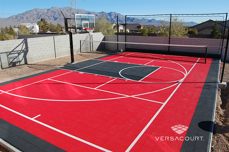 Versacourt indoor outdoor backyard basketball courts for Indoor residential basketball court