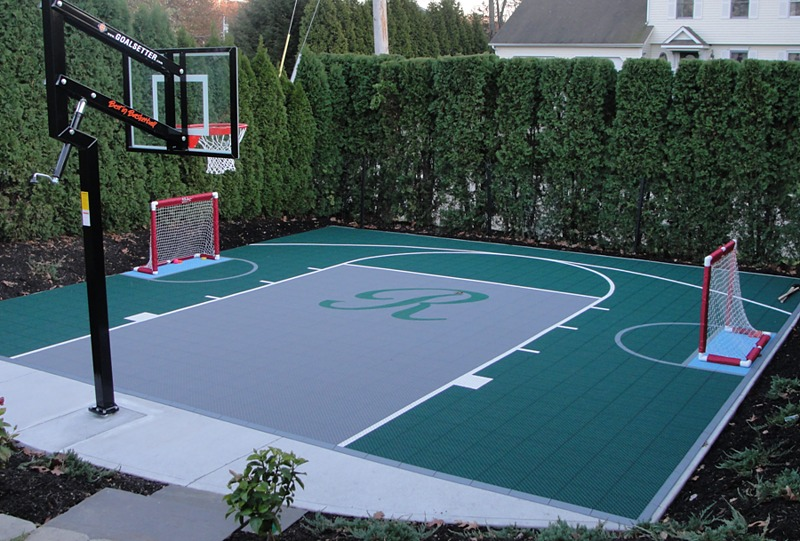 Versacourt home outdoor multi sport game courts for Homemade indoor basketball court