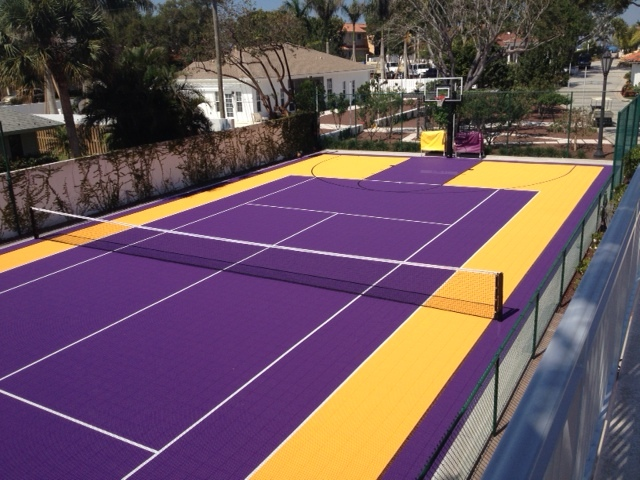 Versacourt court tile for tennis court construction for Residential basketball court cost