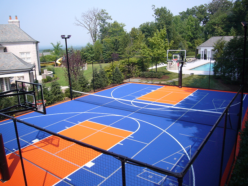 Versacourt court tile for tennis court construction for Basketball court construction cost