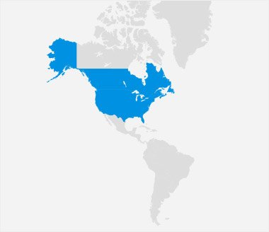 North America highlighted on world map